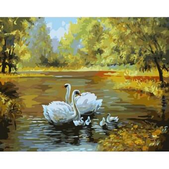 """312-CG Картина по номерам """"Лебеди в пруду"""" (40х50 см)"""