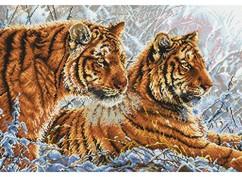 """2333-14 Набор для вышивания крестом """"Амурские тигры"""" (32,5х47 см)"""