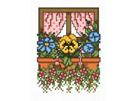 """744-14 Набор для вышивания крестом """"Цветочное окно"""" (8х9,5 см)"""