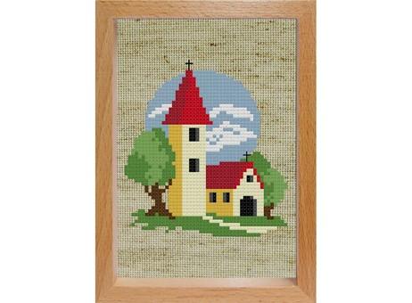 """106-EF Набор для вышивания с деревянной рамкой """"Маленькая церковь"""" (15х11 см)"""