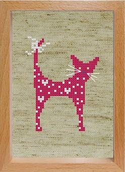"""100-EF Набор для вышивания с деревянной рамкой """"Розовая кошечка"""" (15х11 см)"""