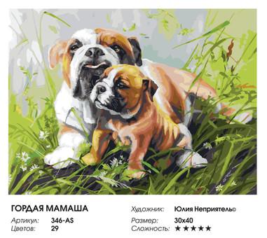 "346-AS Картина по номерам ""Гордая мамаша"" (30х40 см) на холсте"