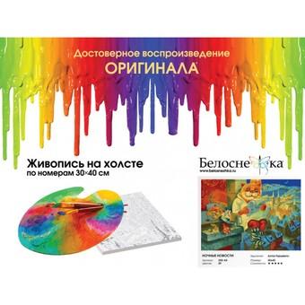 """350-AS Картина по номерам """"Ночные новости"""" (30х40 см) на холсте"""