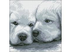 """2170-14 Набор для вышивания крестом """"Два белых щенка"""""""