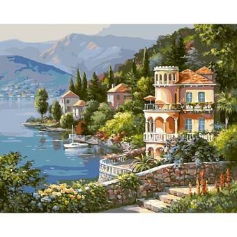 "361-CG Картина по номерам ""Вилла на берегу озера"" (40х50 см)"