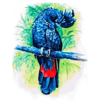 "362-AS Картина по номерам ""Синий попугай"" (30х40 см) на холсте"