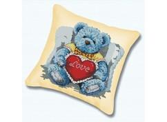 "P-920 Подушка для вышивания ""Медвежонок с сердцем (канва бежевая)"" (45х45 см)"