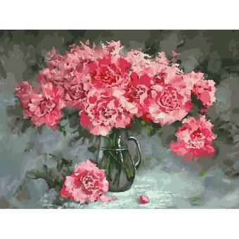 "375-AS Картина по номерам ""Розовые пионы"" (30х40 см) на холсте"