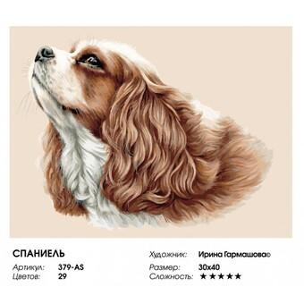 "379-AS Картина по номерам ""Спаниель"" (30х40 см) на холсте"