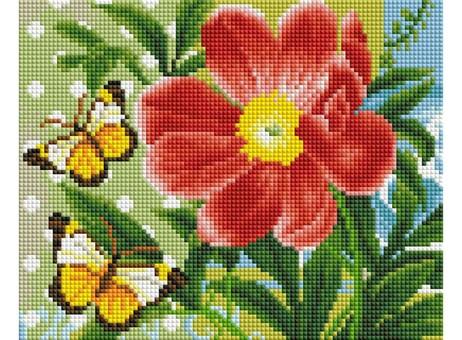 """409-ST-PS Алмазная мозаика в пакете """"Бабочки и цветок"""" (20х25 см)"""