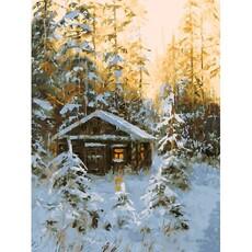 "390-AS Картина по номерам ""Охотничья избушка"" (30х40 см) на холсте"
