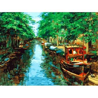 "398-AS Картина по номерам ""Красный кораблик"" (30х40 см) на холсте"