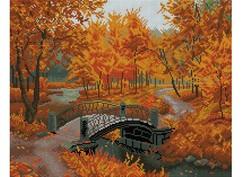"306-ST-S Алмазная мозаика на подрамнике ""Осенний парк"" (40х50 см)"