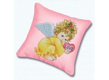 "P-800 Подушка для вышивания ""Маленький ангел (канва розовая)"" (45х45 см)"