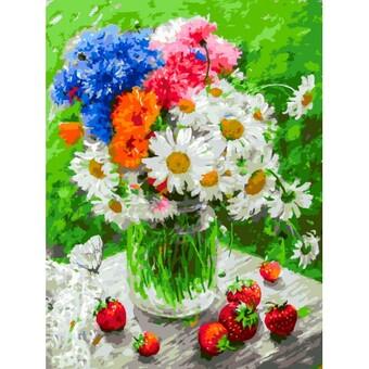"444-AS Картина по номерам ""Дачные цветочки"" (30х40 см) на холсте"