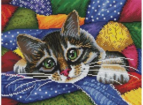 """246-ST-S Алмазная мозаика на подрамнике """"Котик в лоскутках"""" (30х40 см)"""