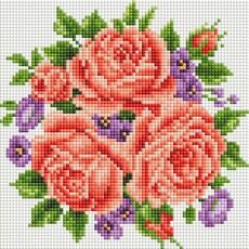 "459-ST-PS Алмазная мозаика в пакете ""Розы и фиалки"" (20х20 см)"