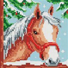"""464-ST-PS Алмазная мозаика в пакете """"Белогривая лошадка"""" (20х20 см)"""
