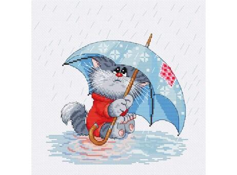 """142-14 Набор для вышивания крестом """"Кошарик под дождём"""" (22х23 см)"""