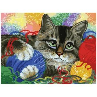 """3005-CS Картина по номерам """"Котик с клубочками"""" (29,5х39,5 см) на картоне"""