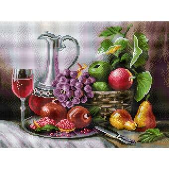 "511-ST-S Алмазная мозаика на подрамнике ""Натюрморт с фруктами"" (30х40 см)"