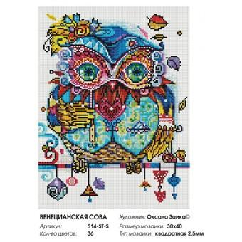 """514-ST-S Алмазная мозаика на подрамнике """"Венецианская сова"""" (30х40 см)"""