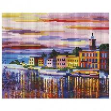 """541-ST-S Алмазная мозаика на подрамнике """"Озеро Комо - Белладжио"""" (20х25 см)"""