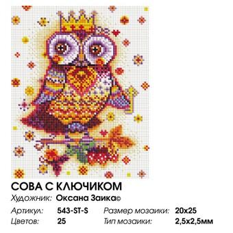 """543-ST-S Алмазная мозаика на подрамнике """"Сова с ключиком"""" (20х25 см)"""