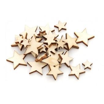 843-DB Деревянные чипборды Звезды 0.8-2 см. 70 шт.
