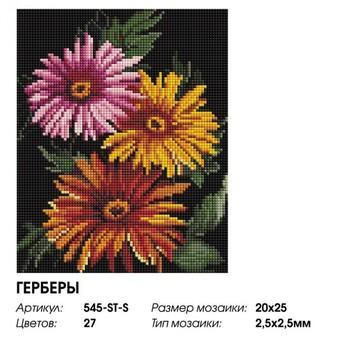 "545-ST-S Алмазная мозаика на подрамнике ""Герберы"" (20х25 см)"