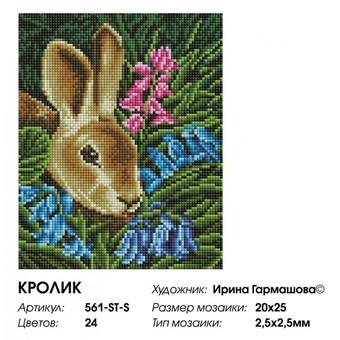 """561-ST-S Алмазная мозаика на подрамнике """"Кролик"""" (20х25 см)"""
