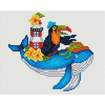 "579-ST-S Алмазная мозаика на подрамнике ""Синий кит"" (20х25 см)"