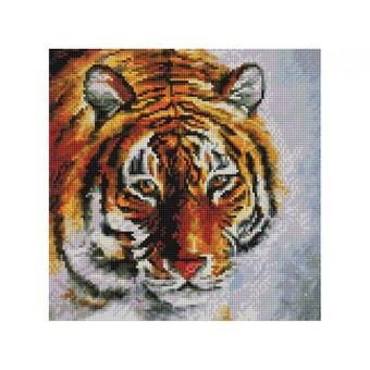 """122-ST-S Алмазная мозаика на подрамнике """"Тигр на снегу"""" (30х30 см)"""