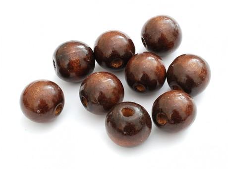 910-DB Бусина дерево 20 мм, 20 шт. (т. коричневый)