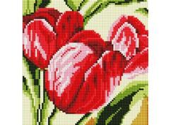"378-ST-S Алмазная мозаика на подрамнике ""Тюльпаны"" (20х20 см)"