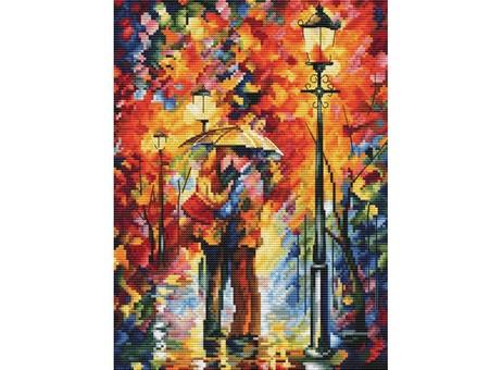 """980-14 Набор для вышивания крестом """"Поцелуй под дождём"""" (20х27 см)"""