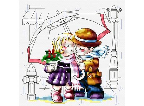 """361-14 Набор для вышивания крестом """"Романтика под зонтиком"""" (16х16 см)"""