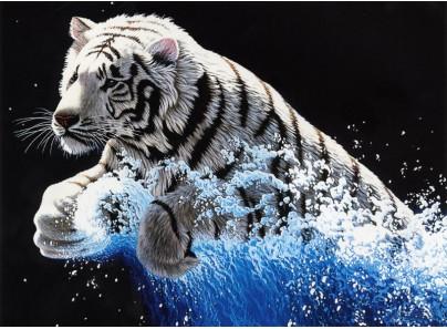 """1253-14 Набор для вышивания крестом """"Белый тигр"""" (39,5х53 см)"""