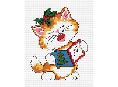 """851-14 Набор для вышивания крестом """"Поющий котенок"""" (7,5х7,5 см)"""