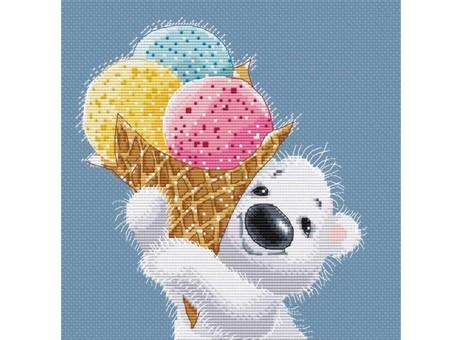 """162-14 Набор для вышивания крестом """"Медвежонок с мороженым"""" (18,5х20,5 см)"""