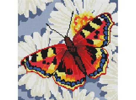 """087-ST-S Алмазная мозаика на подрамнике """"Бабочка на ромашках"""" (30х30 см)"""