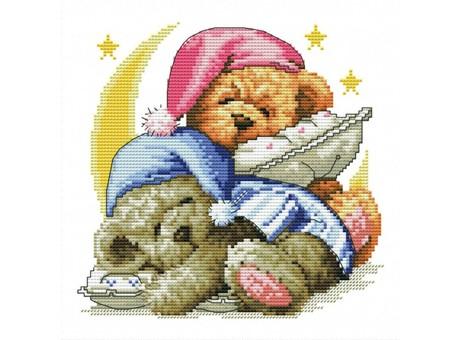 """776-14 Набор для вышивания крестом """"Два медвежонка"""" (17,5х18 см)"""