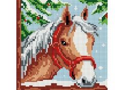 "326-ST-S Алмазная мозаика на подрамнике ""Белогривая лошадка"" (20х20 см)"