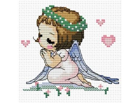 """567-14 Набор для вышивания крестом """"Ангелочек с сердечками"""" (10х10,5 см)"""