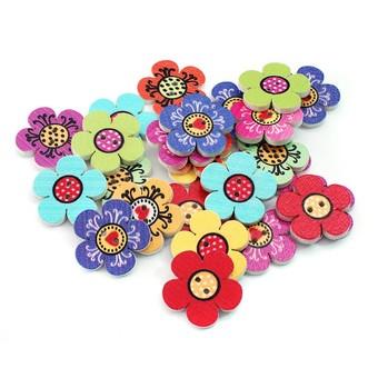 885-DB Пуговицы декоративные Цветочки 25 шт. 2 см. цветные