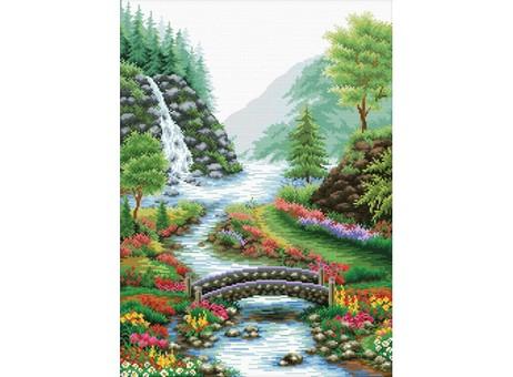 """1554-14 Набор для вышивания крестом """"Река в лесу"""" (33х46 см)"""