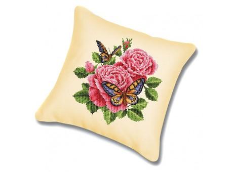 "P-137 Подушка для вышивания ""Бабочки и розы (канва бежевая)"" (45х45 см)"