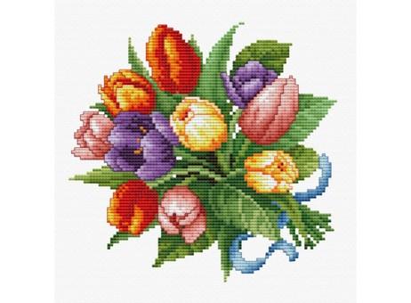 """6013-14 Набор для вышивания крестом """"Тюльпаны"""" (16,5х17 см)"""