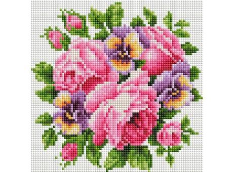 """276-ST-S Алмазная мозаика на подрамнике """"Розы и анютины глазки"""" (20х20 см)"""