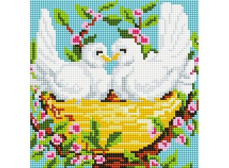 "367-ST-S Алмазная мозаика на подрамнике ""Пара голубей"" (20х20 см)"